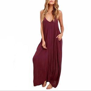 ☀️Lulu's Burgundy Boho Maxi Dress with Pockets S/M